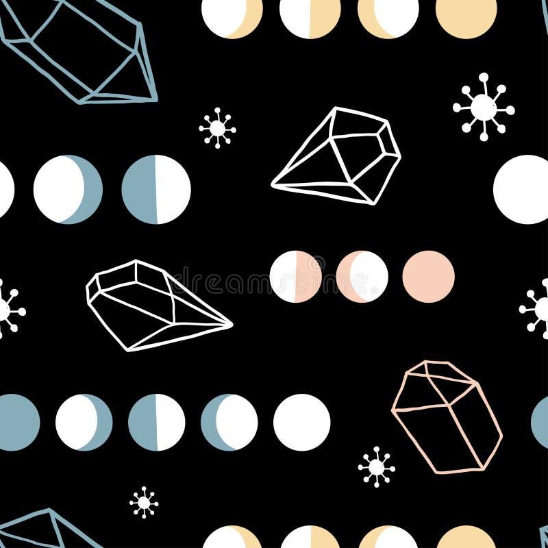 Magisk sömlös modell för vektorhäxa stock illustrationer