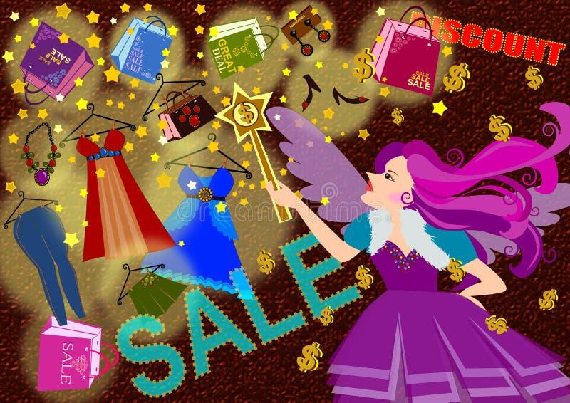 Magisk shopping stock illustrationer