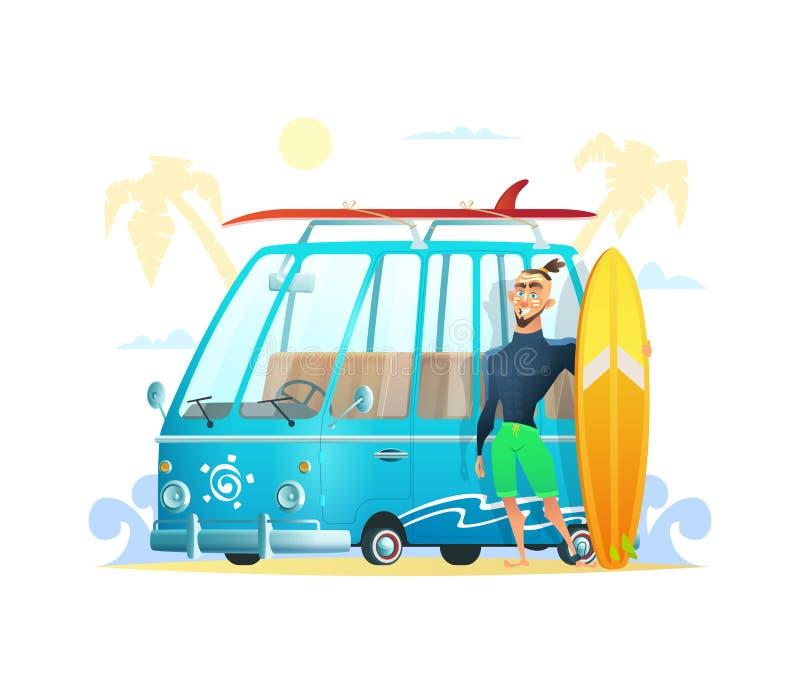 Magisk skåpbil med den bränningbrädet och mannen Den glade surfaren som står nära bränningbussen Surfa tidsommarsemester vektor vektor illustrationer