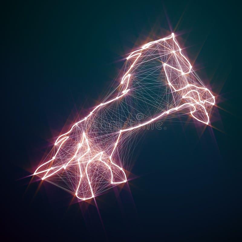 Magisk skinande guld- häst Förbindelseprickar vektor illustrationer
