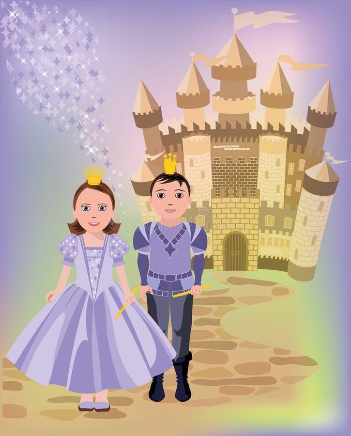 Magisk slott och prinsessa med prins royaltyfri illustrationer