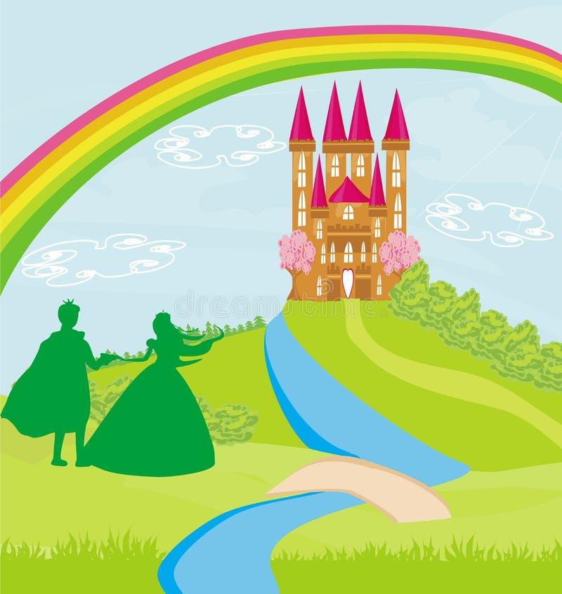 Magisk slott och prinsessa med prins stock illustrationer