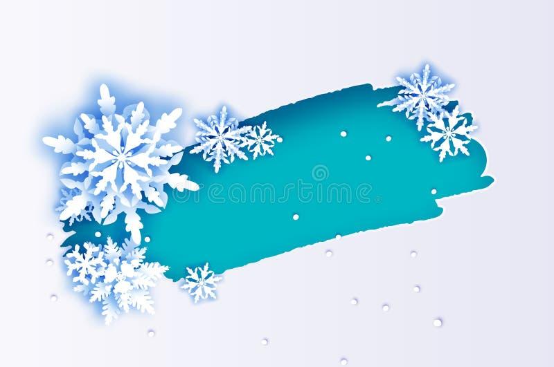 magisk snowflake Glad jul och lyckligt hälsningskort för nytt år Vitboksnittsnöflingor Origamigarnering royaltyfri illustrationer