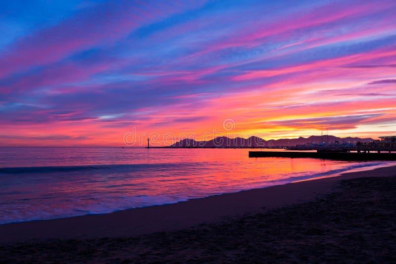 Magisk solnedgång i Cannes royaltyfria foton