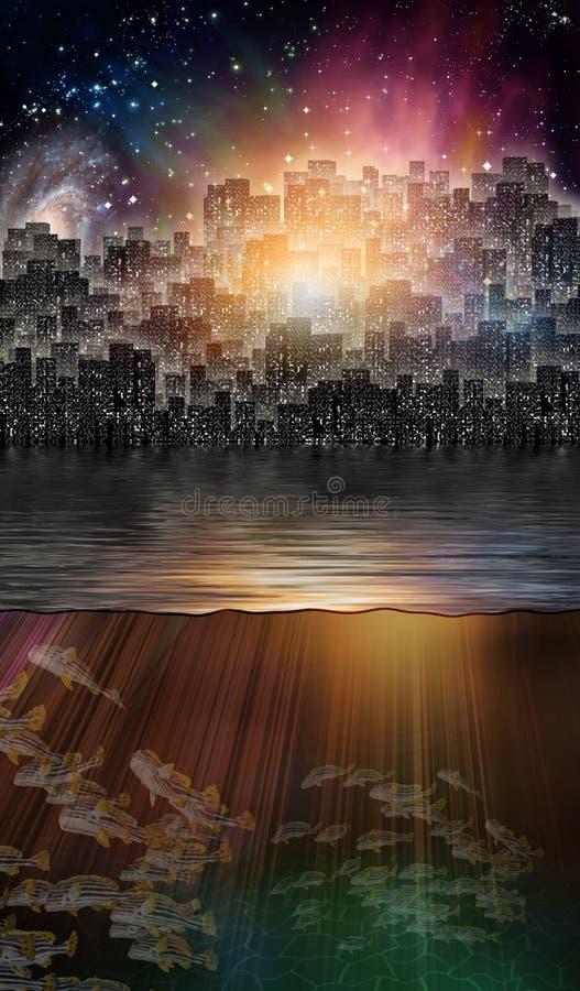 Magisk stad stock illustrationer