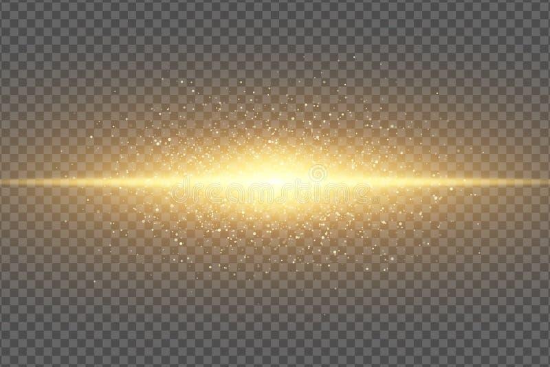 Magisk stilfull ljus effekt på en genomskinlig bakgrund Abstrakt guld- exponering Glöda flyga linjen för dammneonguld skimrande vektor illustrationer