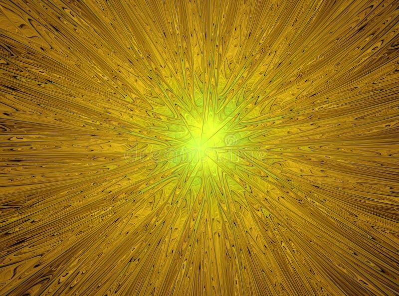 magisk stjärna Abstrakt gul fractalsammansättning stock illustrationer