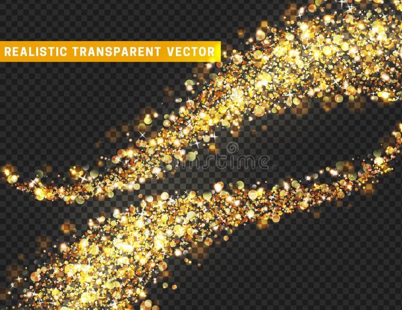 Magisk textur för ljus effekt Den realistiska partikeln blänker stjärnor, hjärtor, cirkelfläckar royaltyfri illustrationer