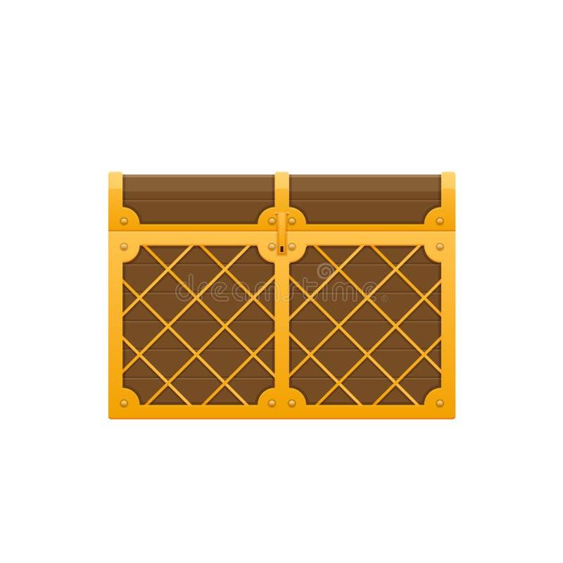 Magisk träbröstkorg med låset Ask med skatter, pengar, juvlar stock illustrationer