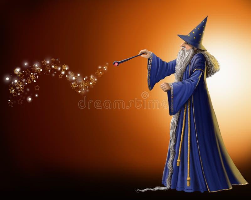 Magisk trollkarl stock illustrationer