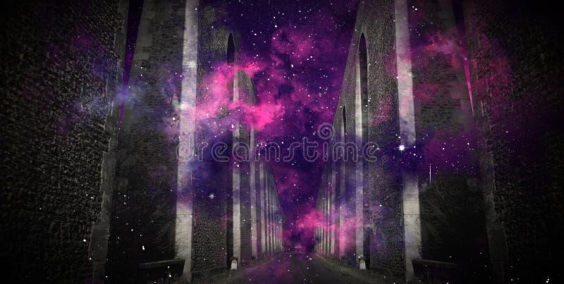 Magisk tunnel, nattsikt, mörk abstrakt magisk bakgrund för kosmiskt damm royaltyfria foton