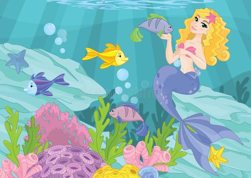 Magisk undervattens- värld för gullig sjöjungfru royaltyfri illustrationer