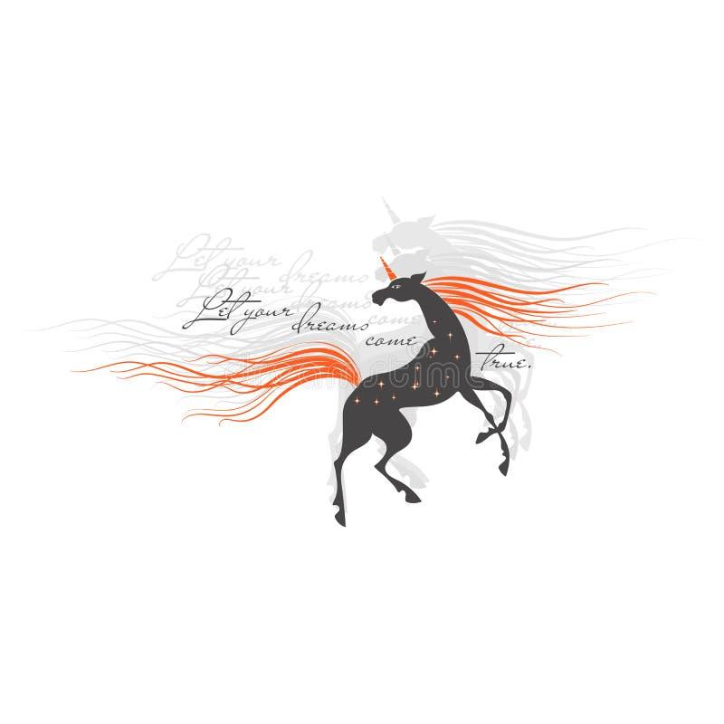 magisk unicorn Låt dina drömmar komma riktigt vektor illustrationer