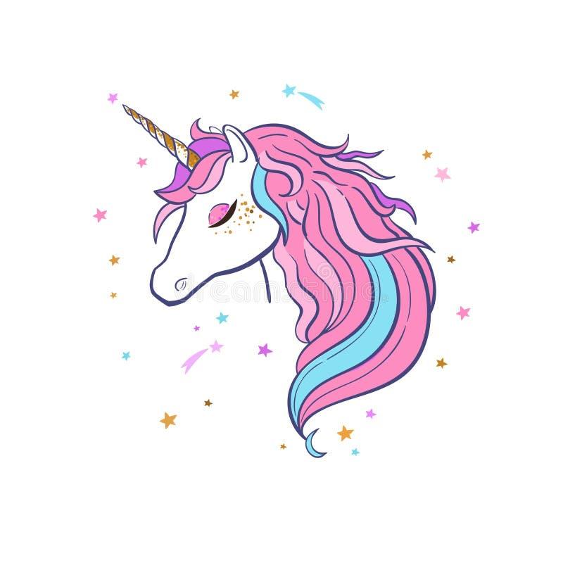 magisk unicorn Vektorhand som dras 1 vektor illustrationer