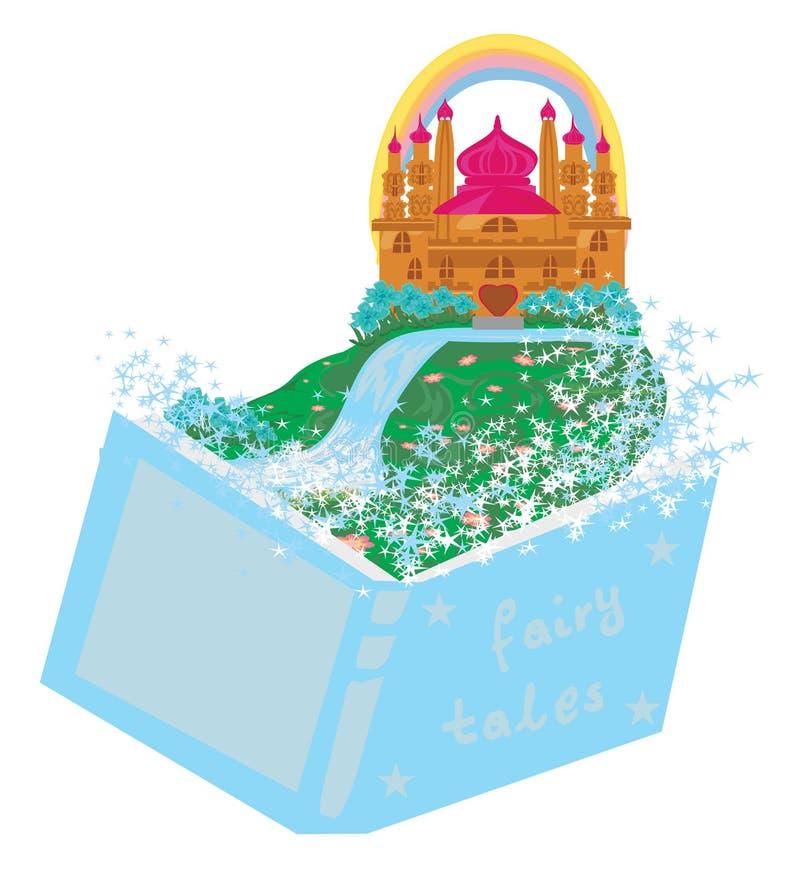 Magisk värld av sagor, felik slott som visas från boken royaltyfri illustrationer