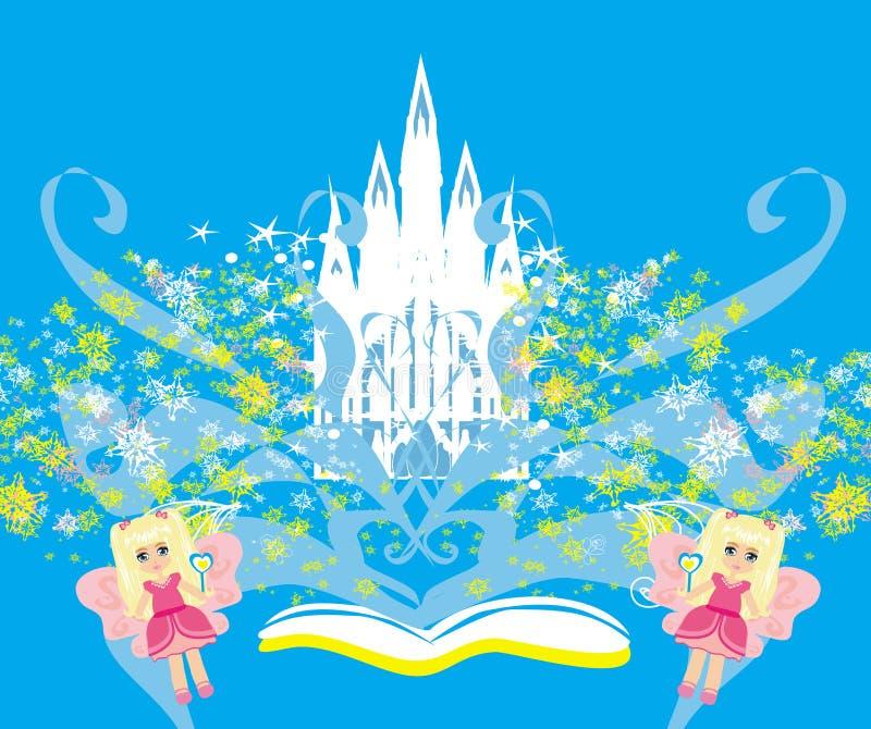 Magisk värld av sagor, felik slott som visas från boken vektor illustrationer