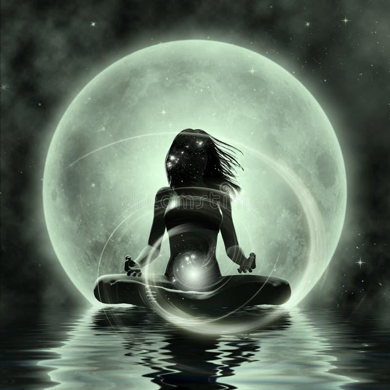 Magisk Yoga - månskenmeditation vektor illustrationer
