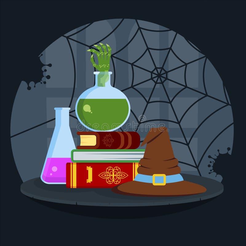 Magiska böcker, giftig dryck och förhuxen hatt stock illustrationer