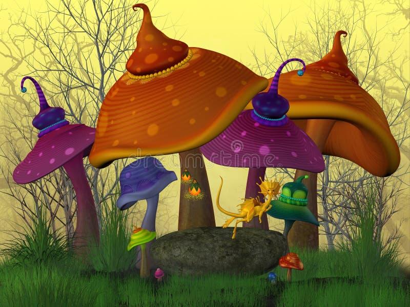 Magiska champinjoner stock illustrationer