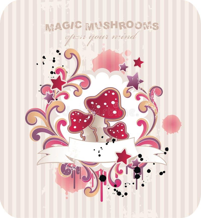 magiska champinjoner royaltyfri illustrationer