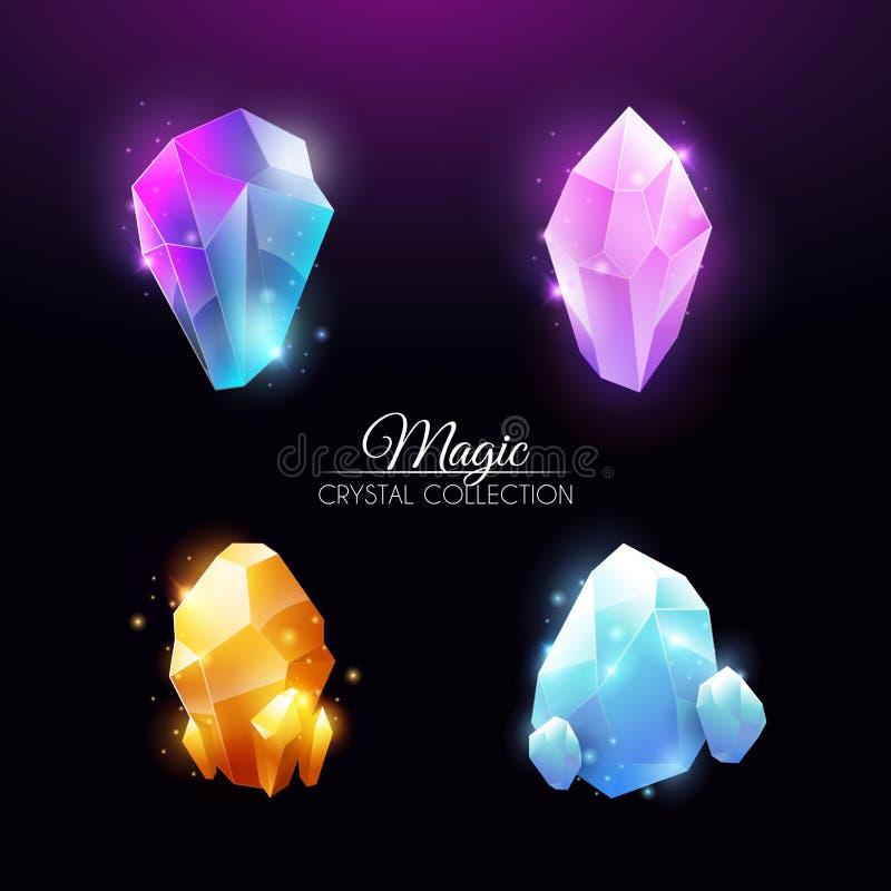 Magiska färgrika Crystal Collection royaltyfria foton