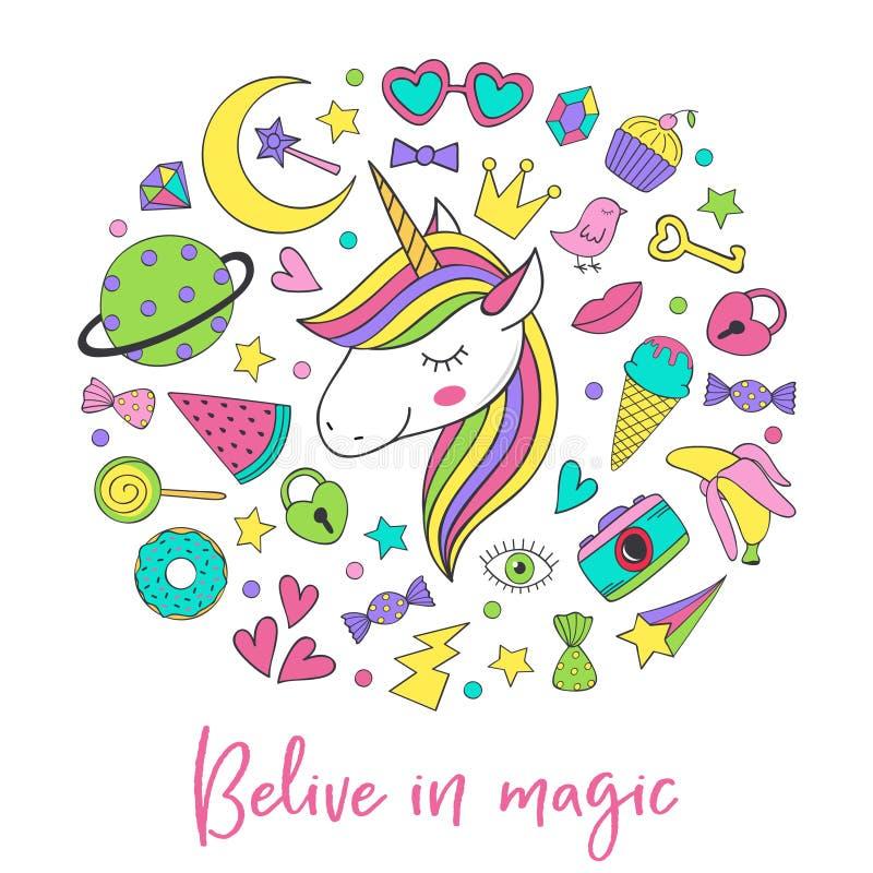 Magiska gulliga klistermärkear för enhörning och för samling royaltyfri illustrationer