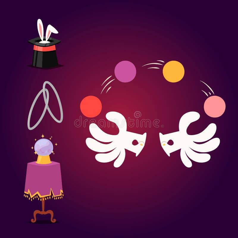 Magiska hjälpmedel för trollkarl för symbol för effekttrickvektor och tecknad film för gåta för karneval för fantasi för överrask stock illustrationer
