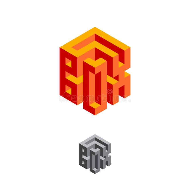 Magiska Logo Box Logo Typografisk sammansättning för volym illustration för efterföljd 3D vektor illustrationer