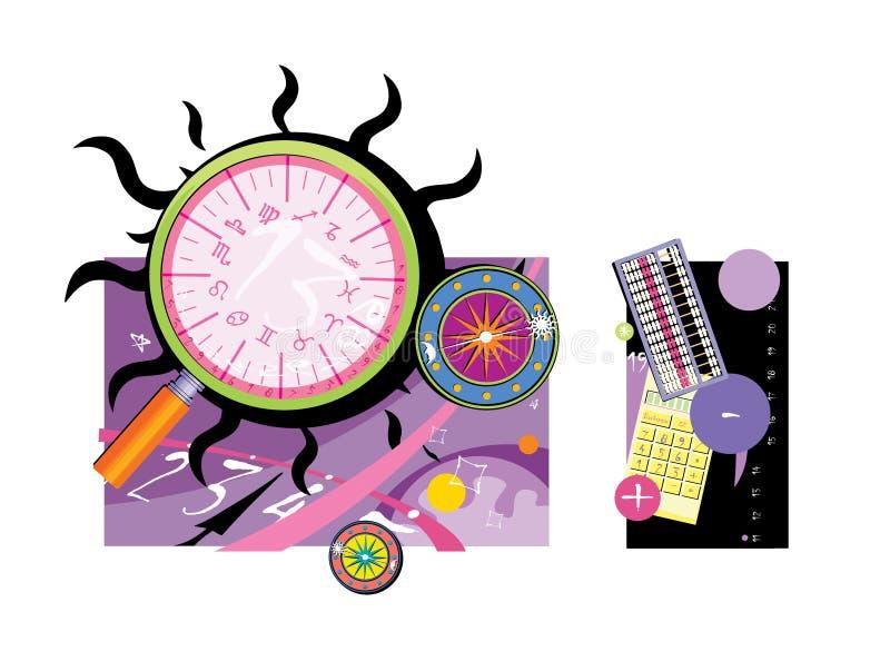 Magiska objekt Zodiakcirkel, beräkningstabell numerology _ royaltyfri illustrationer