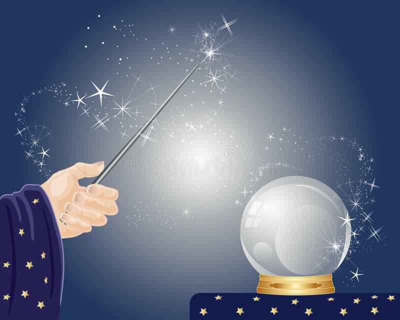 Magiska pass med trollstavkristallkula och mousserar på ett mörker - blå bakgrund stock illustrationer