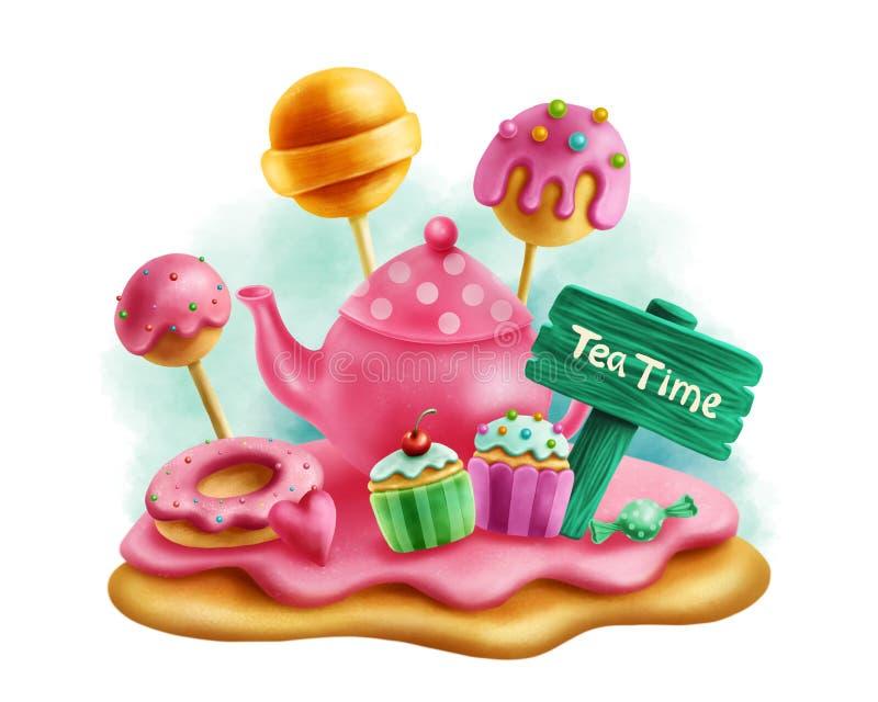Magiska sötsaker för tebjudning stock illustrationer