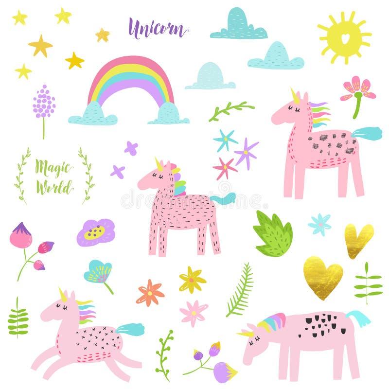 Magiska Unicorn Collection Barnslig beståndsdeluppsättning med enhörningar, blommor, regnbågen och moln Garnering för födelsedagp vektor illustrationer