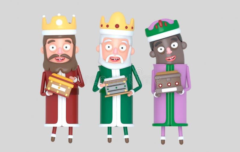 Magiskt anseende för konung tre isolerat illustration 3d stock illustrationer