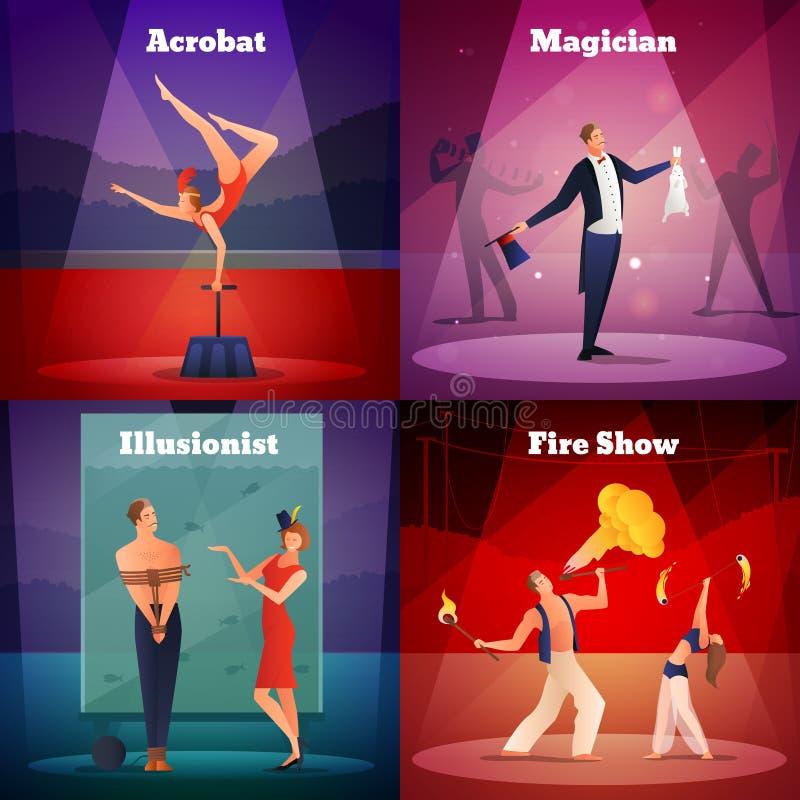 Magiskt designbegrepp för show 2x2 vektor illustrationer