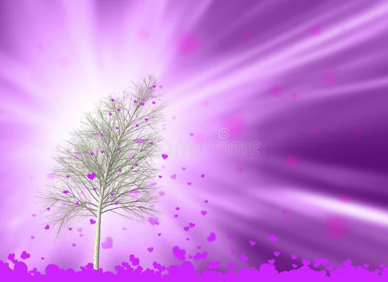 Magiskt förälskelseträd i vindillustrationen vektor illustrationer