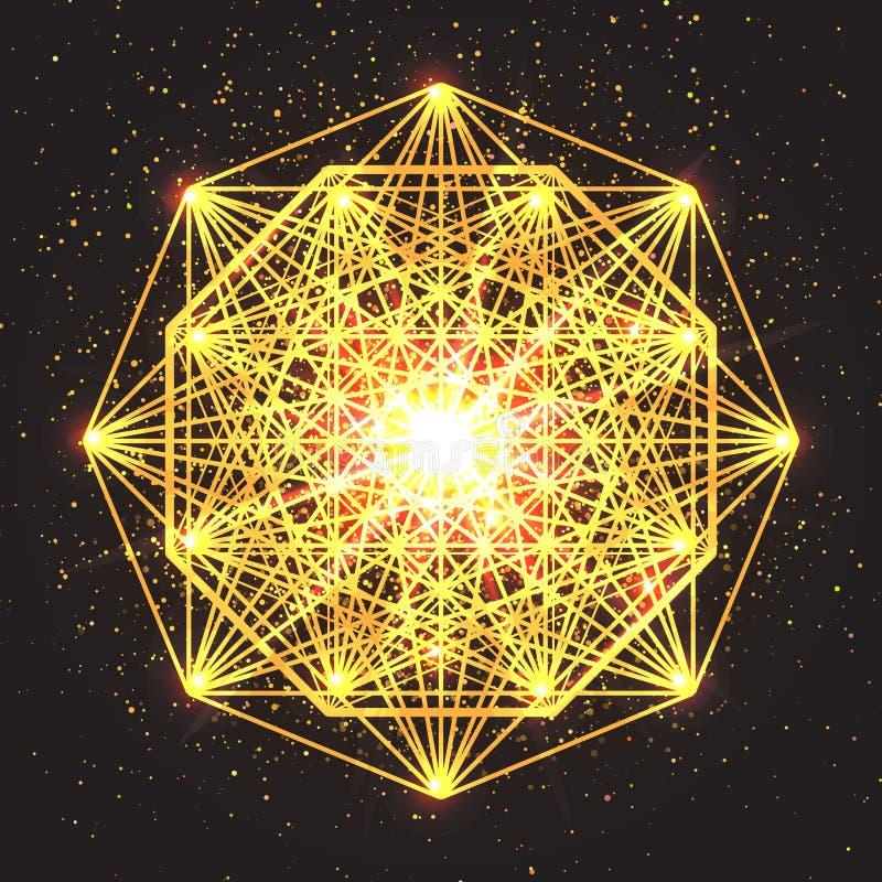 Magiskt geometritecken Abstrakt sakral geometri vektor illustrationer