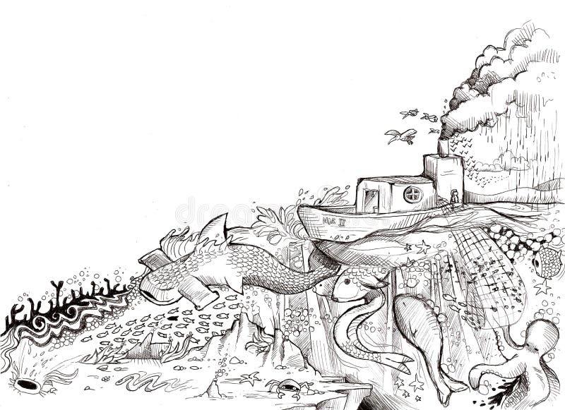 magiskt hav stock illustrationer