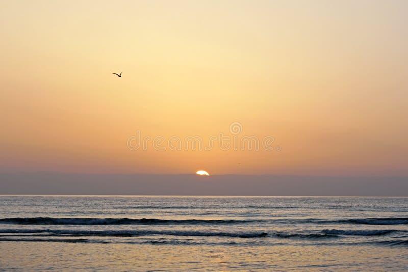 Magiskt hav athwart Morgon horisont över soluppgång Stora ögonblick av en ny dag arkivbild