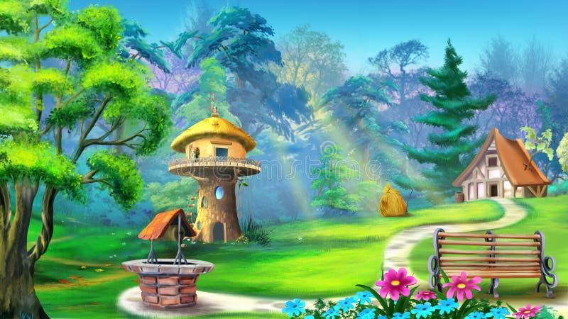 Magiskt hus i skogen stock illustrationer