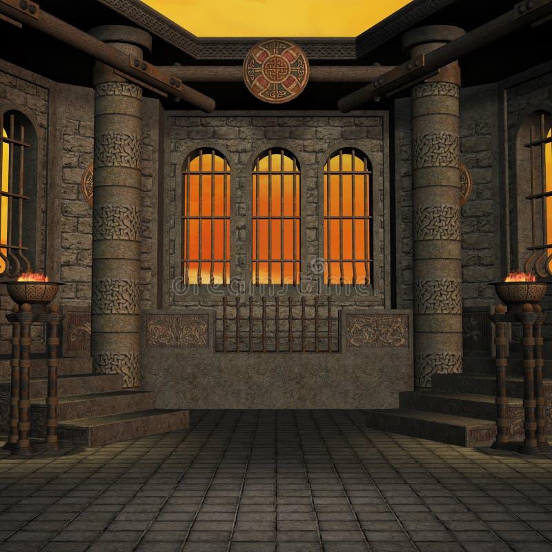 magiskt inställningsfönster för fantasi stock illustrationer