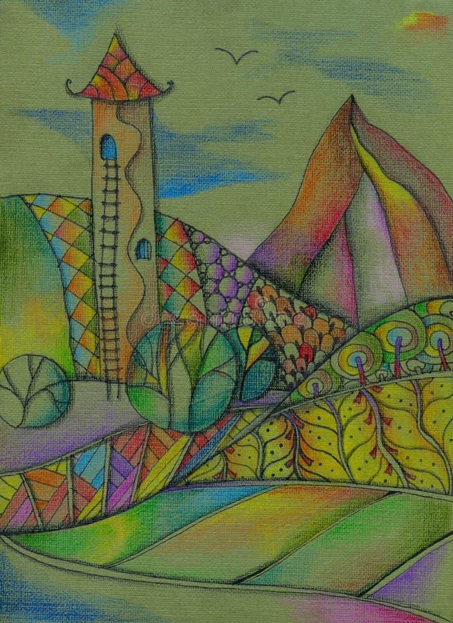 Magiskt landskap med tornet och träd i de färgrika bergen saga Ljus teckning vid kulöra blyertspennor royaltyfri bild