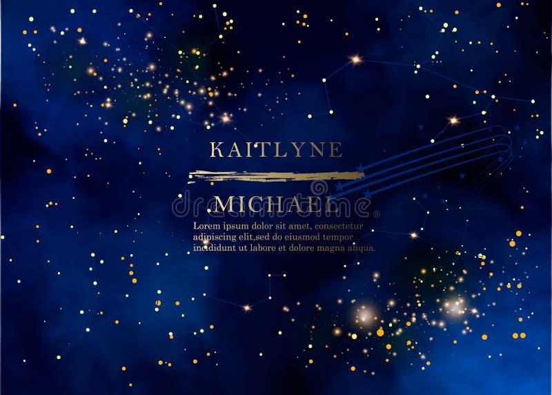 Magiskt nattmörker - blå himmel med den mousserande inbjudan för stjärnavektorbröllop Andromeda Galaxy Guld blänker pulverfärgstä stock illustrationer