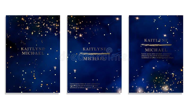 Magiskt nattmörker - blå himmel med den mousserande inbjudan för stjärnavektorbröllop Andromeda Galaxy Guld blänker pulverfärgstä vektor illustrationer