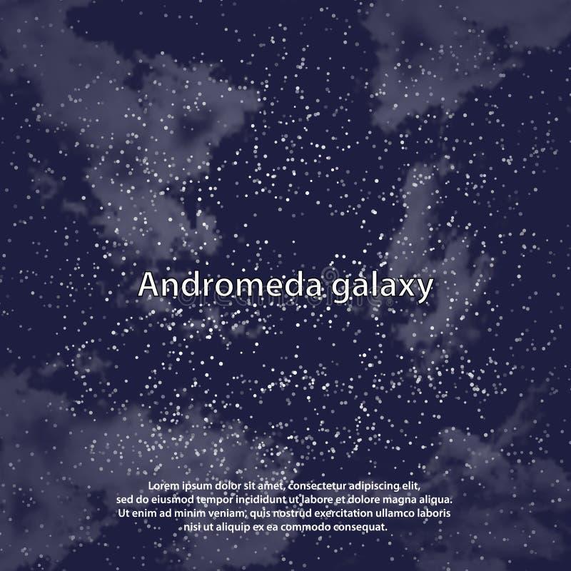Magiskt nattmörker - blå himmel med den mousserande inbjudan för stjärnavektorbröllop Andromeda Galaxy Stjärnklart blänka pulverf vektor illustrationer
