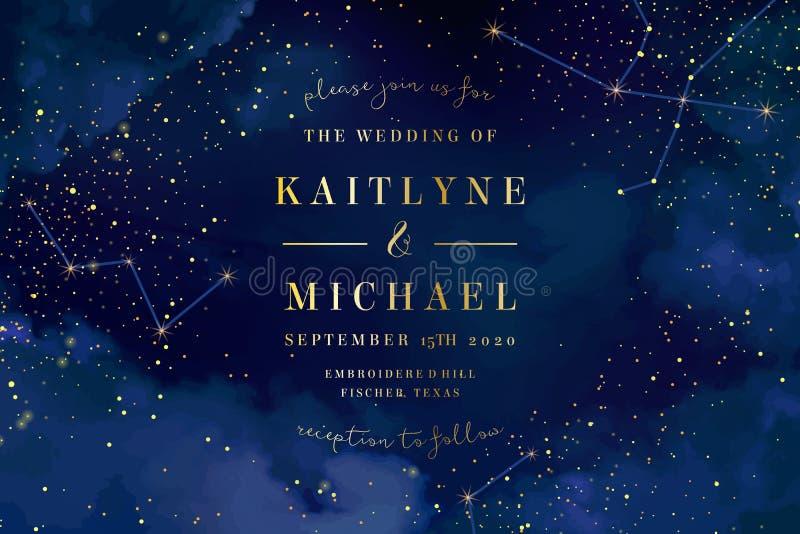 Magiskt nattmörker - blå himmel med mousserande stjärnavektorbröllop in royaltyfri illustrationer