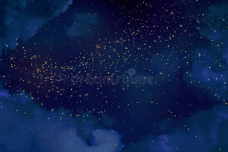 Magiskt nattmörker - blå himmel med mousserande stjärnor royaltyfri illustrationer