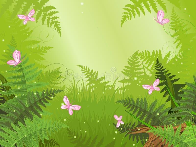Magiskt skoglandskap royaltyfri illustrationer