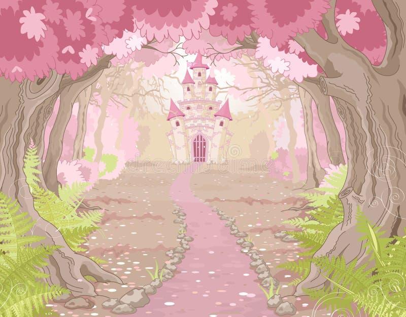 Magiskt slottlandskap royaltyfri illustrationer