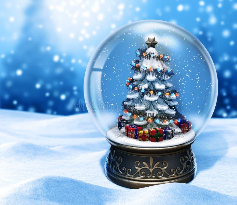 Magiskt snöjordklot med julgranen på blå bakgrund royaltyfri illustrationer