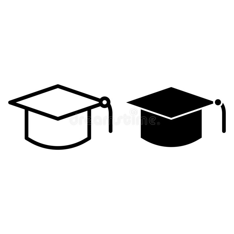 Magisterska kapelusz linia i glif ikona Edukacji wektorowa ilustracja odizolowywająca na bielu Skalowanie nakrętki konturu stylu  ilustracja wektor